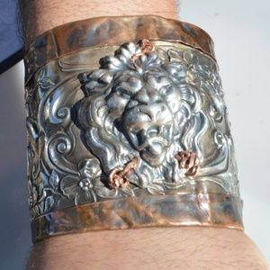 Victorian Sterling Silver Unger Lion Copper Cuff
